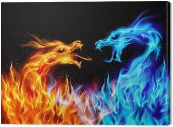 Canvastavla Blå och röda brand Dragons