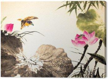 Canvastavla Bläck lotus målning handritad