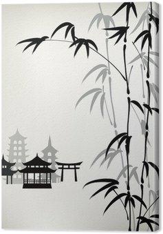Canvastavla Bläck målade bambu