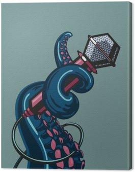 Canvastavla Bläckfisk tentakel håller en mikrofon. Mallen för musik affischer