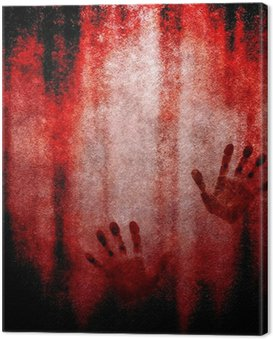 Canvastavla Blodiga handavtryck på väggen