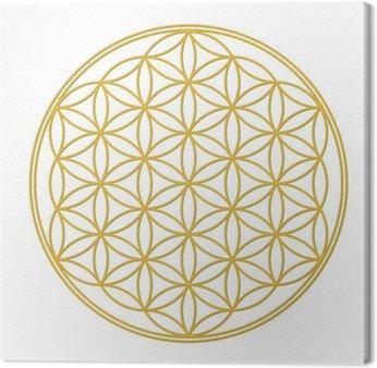 Canvastavla Blomma av liv guld med skugga