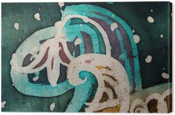 Canvastavla Blomma, varm batik, bakgrund textur, handgjorda på siden, abstrakt surrealismkonst