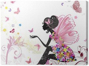 Canvastavla Blommafe i miljön av fjärilar