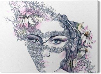 Canvastavla Blommig dekorerat ansikte