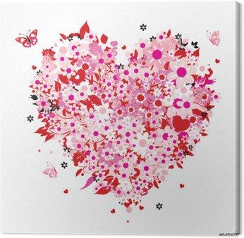 Canvastavla Blommor hjärta form