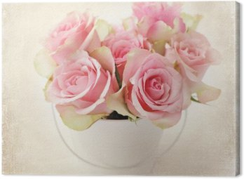 Canvastavla Blommor. rosa rosor i en vas