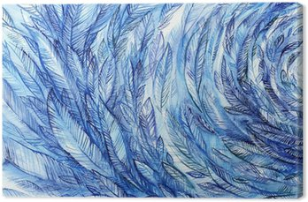 Canvastavla blue feathers in a circle, watercolor abstract background