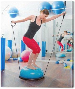Canvastavla Bosu ball för fitness instruktör kvinna i aerobics