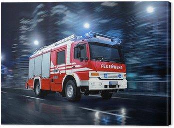 Canvastavla Brandmän i aktion