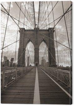 Canvastavla Brooklyn Bridge i New York City. Sepiaton.