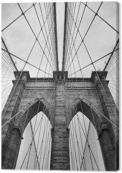 Canvastavla Brooklyn Bridge New York närbild arkitektoniska detaljer i tidlöst svart och vitt
