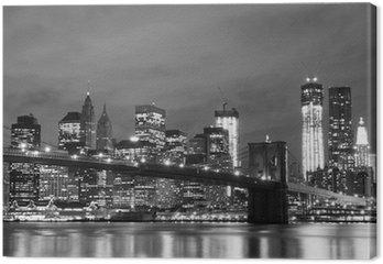 Canvastavla Brooklyn Bridge och Manhattan horisont på natten, New York City