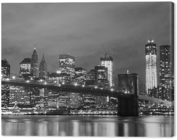 Canvastavla Brooklyn Bridge och Manhattan horisont på natten, New York City