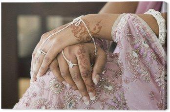 Canvastavla Brud Handhennatatuering och smycken, indiska bröllop
