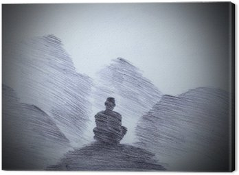Canvastavla Buddhistisk munk i fjällen
