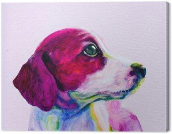Canvastavla Buddy porträtt av en ung hund, valp i neonfärger. Söker och längtan efter uppmärksamhet