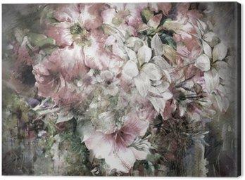 Canvastavla Bukett av mångfärgade blommor vattenfärgmålning på fyrfärg bakgrund