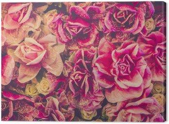Canvastavla Bukett av rosor bakgrund. retro filter