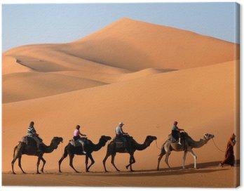 Canvastavla Camel Caravan i Saharaöknen