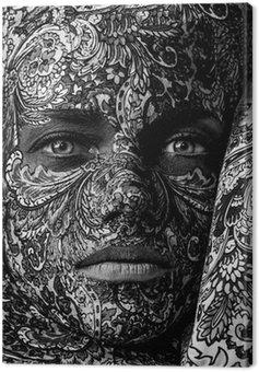 Canvastavla Cirkus ansikte art kvinna nära upp porträtt
