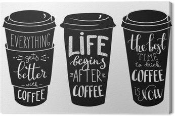 Canvastavla Citat bokstäver på kaffe papper cup form set