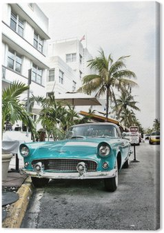 Canvastavla Classic American Car på South Beach, Miami.
