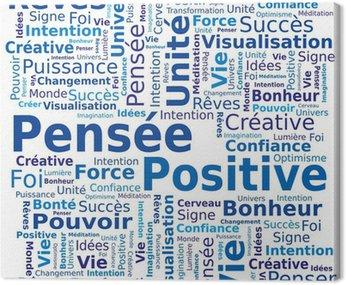 Canvastavla Cloud of Words - Positivt tänkande på franska