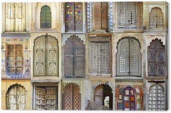 Canvastavla Collage av de gamla indiska dörrar