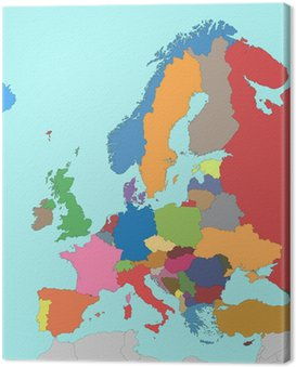 Canvastavla Colorful Europakarta