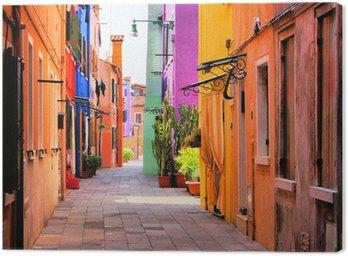 Canvastavla Colorful gata i Burano, nära Venedig, Italien