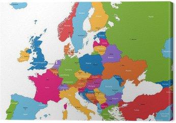 Canvastavla Colorful karta Europa med länder och huvudstäder