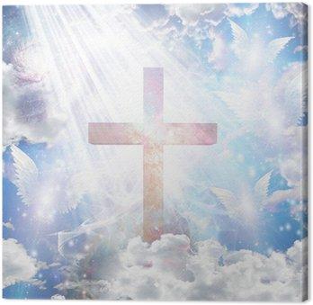 Canvastavla Cross och ängla former