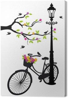 Canvastavla Cykel med lampa, blommor och träd, vektor