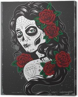 Canvastavla Dag av död flicka tatuering illustration