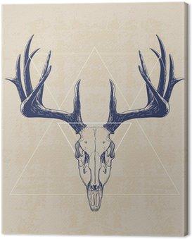 Canvastavla deer skull