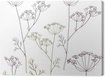 Canvastavla Dill eller fänkål blommor och blad.