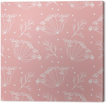 Canvastavla Dill eller fänkål blommor och lövmönster.
