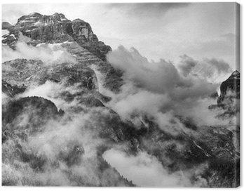 Canvastavla Dolomiterna Berg Svartvitt