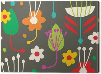 Canvastavla Doodle sömlösa blommönster