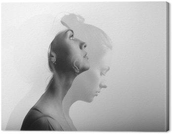 Canvastavla Dubbel exponering med ung och vacker flicka, monokrom