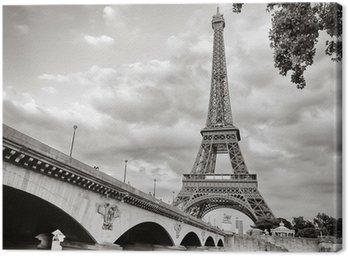 Canvastavla Eiffeltornet utsikt från floden Seine square format