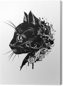 Canvastavla Ein blommig verzierter Kopf einer Katze .__ Katzenkopf im Scherenschnitt Stil__