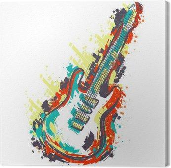 Canvastavla Elgitarr. Handritad grunge utformar konst. Retro baner, kort, t-shirt, väska, skriva ut, poster.Vintage färgrik handritad vektor illustration