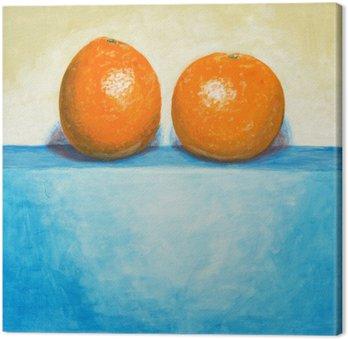 Canvastavla En målning av två apelsiner