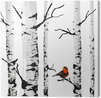 Canvastavla Fågel av björkar, vektor ritning med redigerbara element.