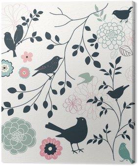 Canvastavla Fågel och blomma
