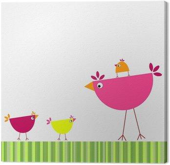 Canvastavla Fåglar familj