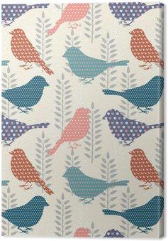 Canvastavla Fåglar sömlösa mönster