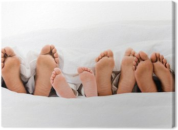 Canvastavla Familj i sängen.